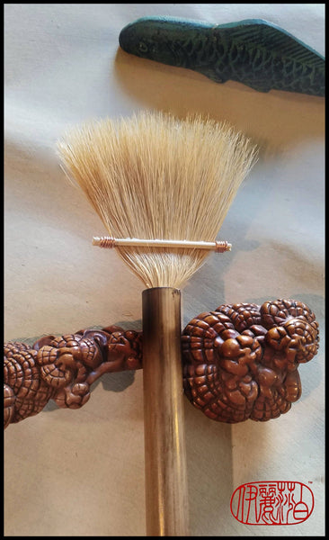 Handmade Fan Brush With 4 inch Wide Blond Horse Hair Bristles and 19 Inch Bamboo Handle - Elizabeth Schowachert Art