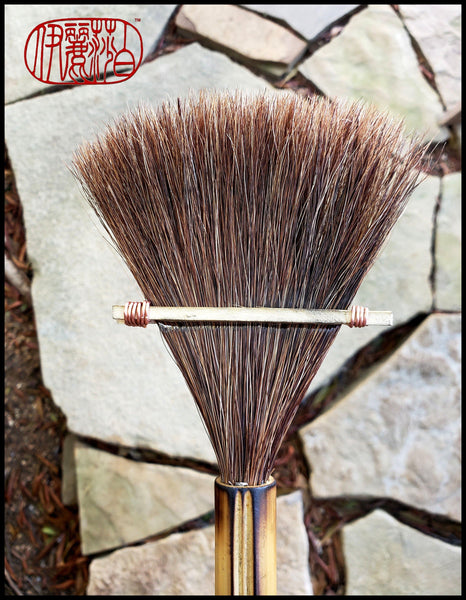 Handmade Fan Brush With Horsehair Bristles and Bamboo Handle Elizabeth Schowachert Art