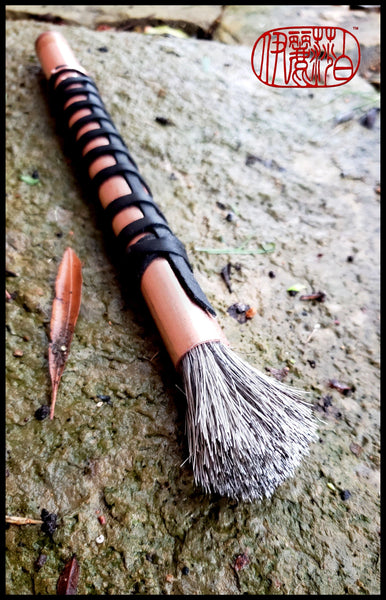 Handmade Grey Horsehair Sumi-e Brush with Copper Handle and Leather Wrap - Elizabeth Schowachert Art