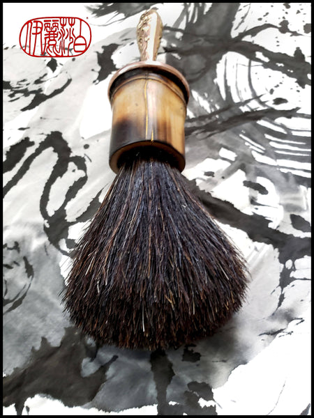 Handmade Horsehair Sumi-e Paint Brush with Restored Antique Copper/Brass Handle - Elizabeth Schowachert Art
