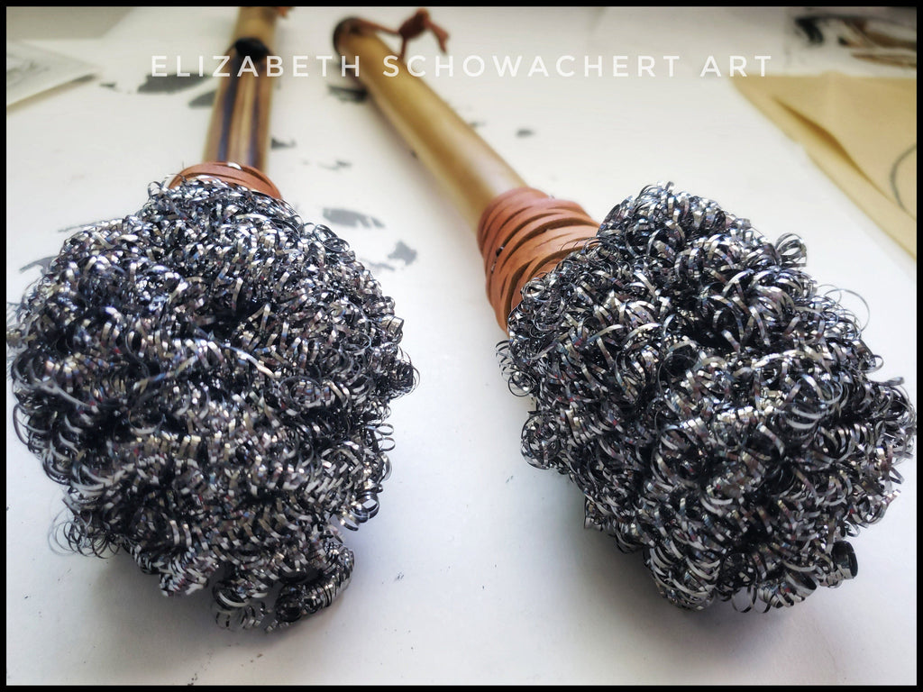 Handmade Metal Head Brushes With Hardwood or Bamboo Handles - Elizabeth Schowachert Art
