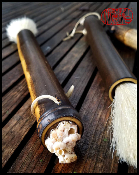 Handmade Paint Brush 3 inch White Horse Hair Bristles, on a 9 inch Black Bamboo Handle - Elizabeth Schowachert Art