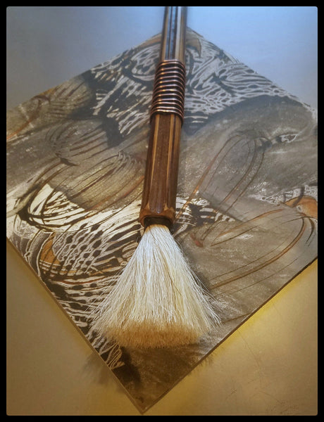 Handmade Paint Brush 3.25 inch Horse Hair White Bristles, on a 15 inch TX Bamboo Handle - Elizabeth Schowachert Art