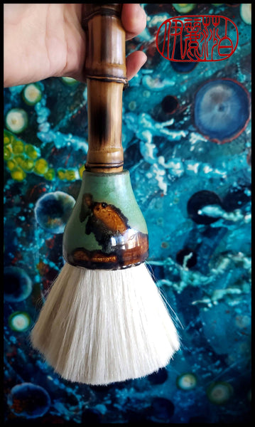 "Handmade Paint Brush 3.25"" Premium White Goat Hair Bristles, on an 17"" Bamboo Handle Art Supplies Elizabeth Schowachert Art"