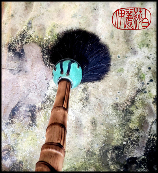 Handmade Paint Brush 4 inch Black Hair Bristles, on a 20 inch Bamboo Handle with Ceramic Ferrule - Elizabeth Schowachert Art