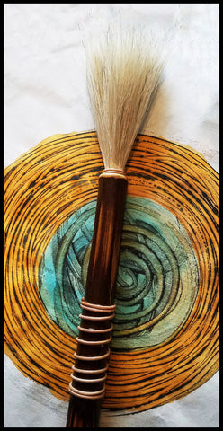 Handmade Paint Brush 4 inch Horse Hair White Bristles, on a 11 inch TX Bamboo Handle - Elizabeth Schowachert Art