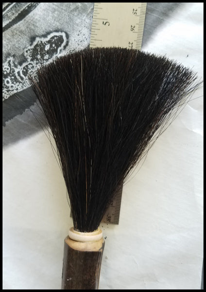 Handmade Paint Brush 4.5 inch Horse Hair Dark Brown Bristles, on a 12 inch TX Bamboo Handle - Elizabeth Schowachert Art