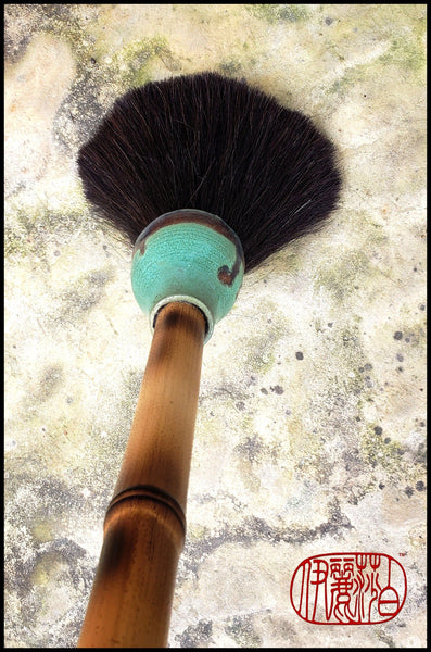 Handmade Paint Brush 5 inch Horse Hair Bristles, on a 28 inch Bamboo Handle - Elizabeth Schowachert Art