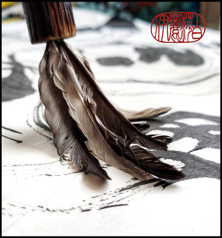 "Handmade Parrot Feather Paint Brush with 8"" Long Bamboo Handle - Elizabeth Schowachert Art"