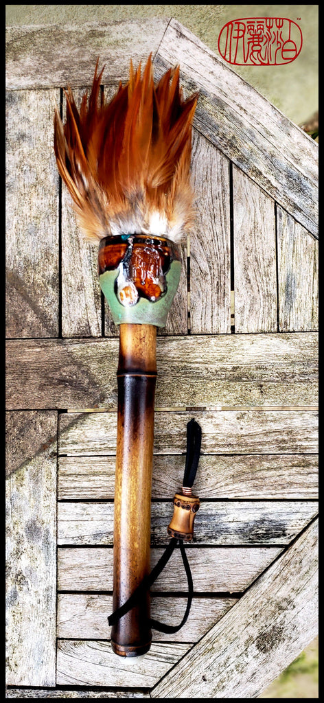 Handmade Rooster Feather Paint Brush With 10 inch TX Bamboo Handle