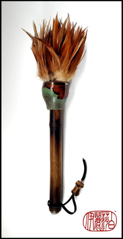 Handmade Rooster Feather Paint Brush With 10 inch TX Bamboo Handle - Elizabeth Schowachert Art