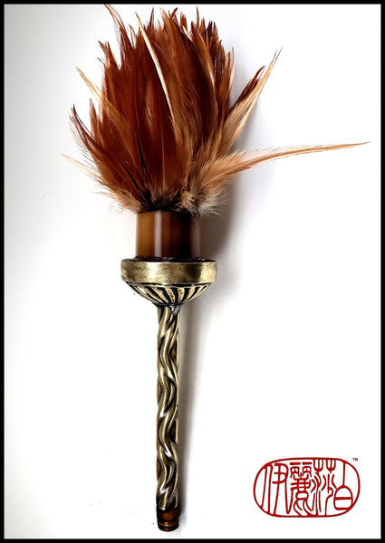Handmade Rooster Feather Paint Brush With 7 inch Restored Vintage Brass Barbershop Brush - Elizabeth Schowachert Art