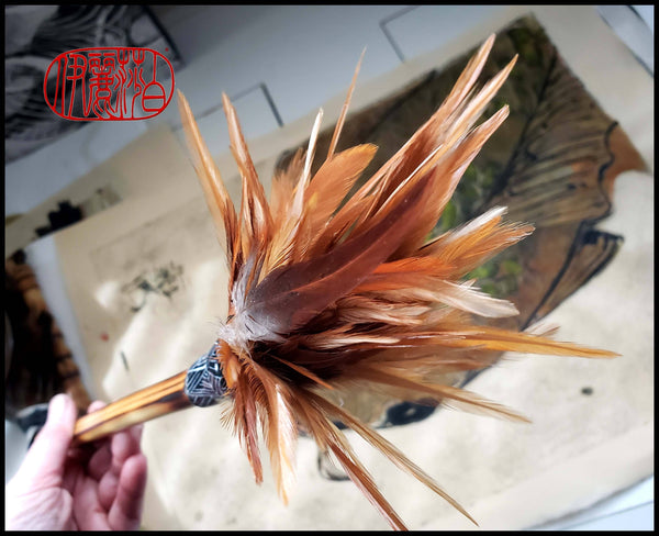 "Handmade Rooster Saddle Feather Paint Brush With 10"" Bamboo Handle Art Supplies Elizabeth Schowachert Art"