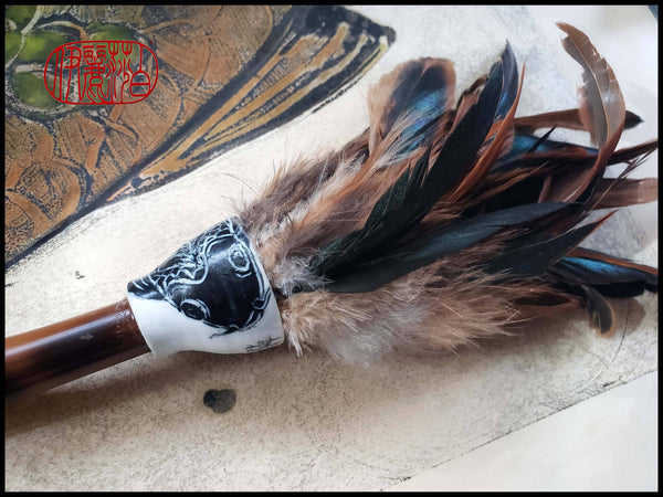 "Handmade Rooster Saddle Feather Paint Brush With 13"" Bamboo Handle Art Supplies Elizabeth Schowachert Art"