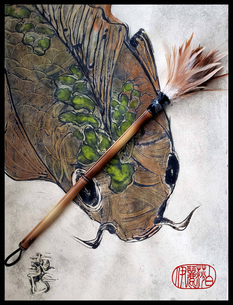 "Handmade Rooster Saddle Feather Paint Brush With 14"" Bamboo Handle Art Supplies Elizabeth Schowachert Art"