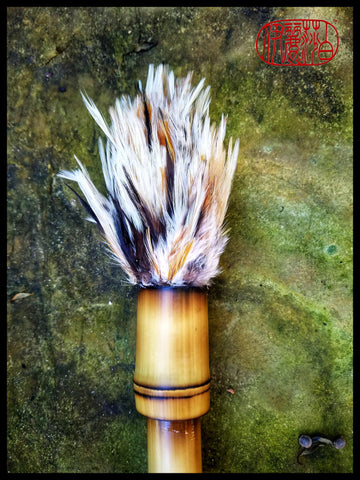 Handmade Rooster Saddle Feather Paint Brush With 16 inch Bamboo Handle - Elizabeth Schowachert Art
