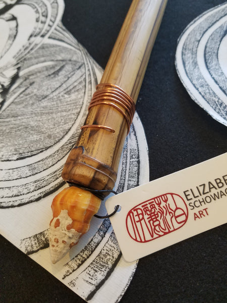 "Handmade Silicone ""Hot Wax"" Paint Brush With 14 Inch Bamboo Handle and 1.75 Inch Silicone Bristles - Elizabeth Schowachert Art"