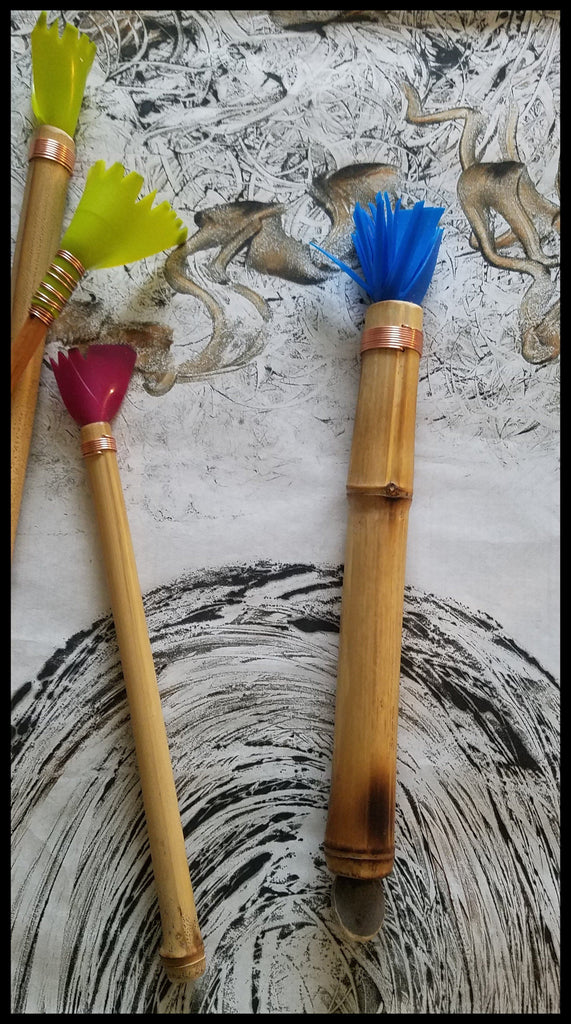 "Handmade Silicone ""HOT WAX"" Paint Brush With 9.5 Inch Bamboo Handle and 2.5 Inch Silicone Bristles - Elizabeth Schowachert Art"