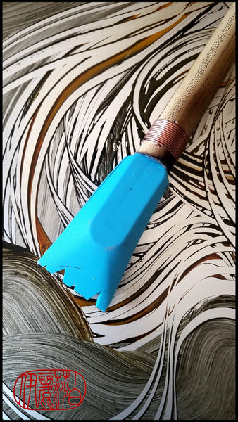 Handmade Silicone Mark Making Tool With 10 Inch Bamboo Handle and 2 Inch Wide Silicone Bristles - Elizabeth Schowachert Art