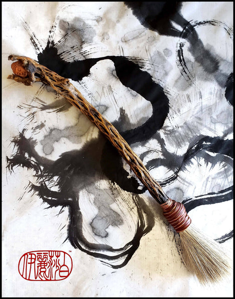 "Handmade Sumi-e Paint Brush with 15"" inch Cholla Cactus Skeleton Handle - Elizabeth Schowachert Art"