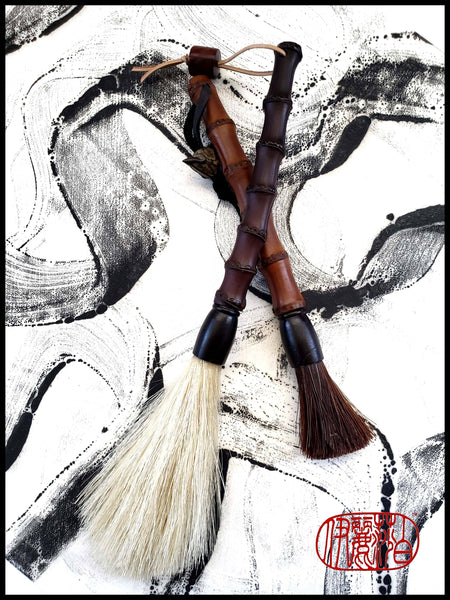 "Handmade Sumi-e Paint Brush With 2"" Dark Auburn Horsehair Bristles, on a 6.25"" Black Bamboo Handle - Elizabeth Schowachert Art"