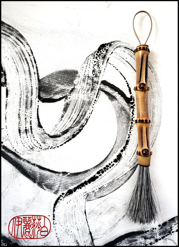 Handmade Sumi-e Paint Brush With 2.75 inch Grey Horse Hair Bristles, on a 5.75 inch Bamboo Handle - Elizabeth Schowachert Art