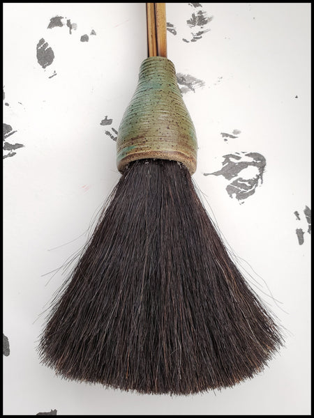 Handmade Sumi-e Paint Brush With 5 inch Black Horsehair Bristles, With a 20 inch Bamboo Handle with Ceramic Ferrule - Elizabeth Schowachert Art