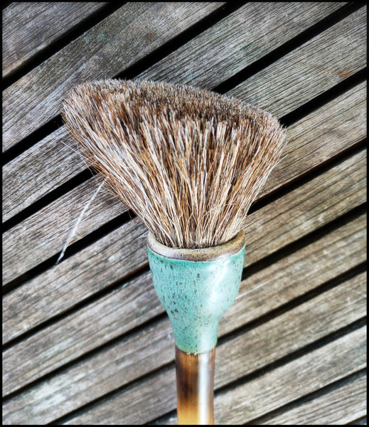 Handmade Sumi-e Paint Brush With Blunt Slant Blunt Bristle Head - Elizabeth Schowachert Art