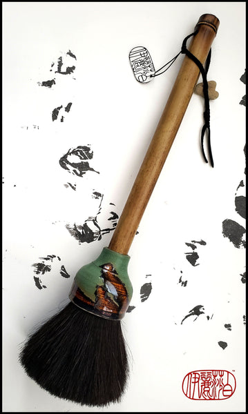 Handmade Sumi-e Paint Brush With Dark Brown Horsehair Bristles, on a 11.5 inch TX Bamboo Handle - Elizabeth Schowachert Art