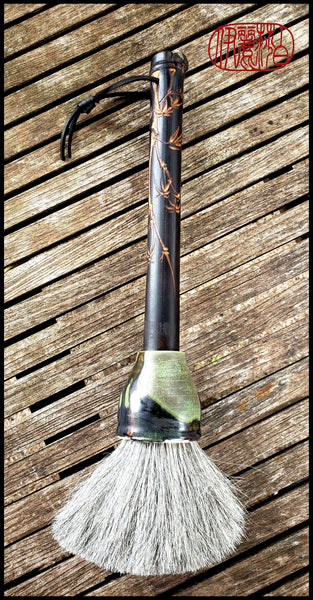 Handmade Sumi-e Paint Brush with Grey Horsehair and a Ceramic Ferrule - Elizabeth Schowachert Art