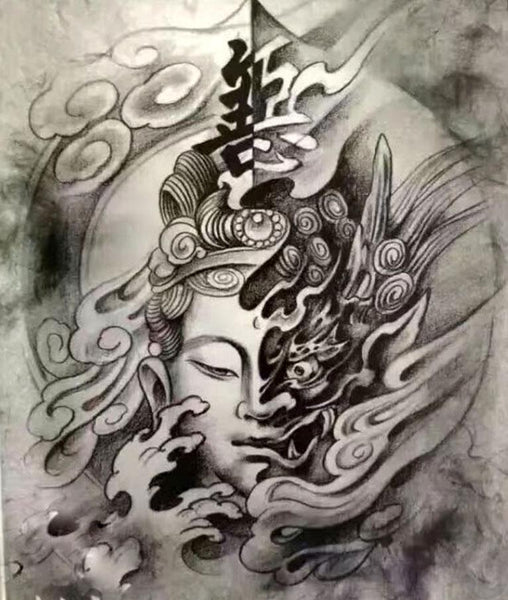 Handmade Sumi-e Paint Brush with Image of Buddha Carved on the Handle - Elizabeth Schowachert Art