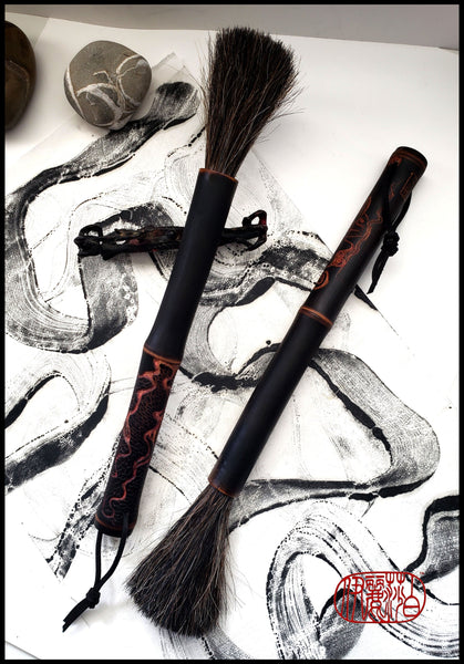 Handmade Sumi-e Paint Brushes With Mixed Horsehair Bristles and Black Bamboo Handles - Elizabeth Schowachert Art