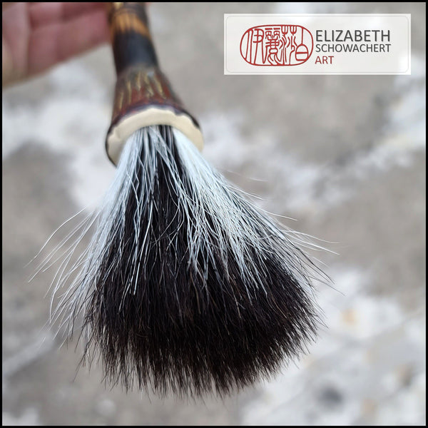 Handmade Sumi-e Style Paint Brush with Ceramic Ferrule Art Supplies Elizabeth Schowachert Art