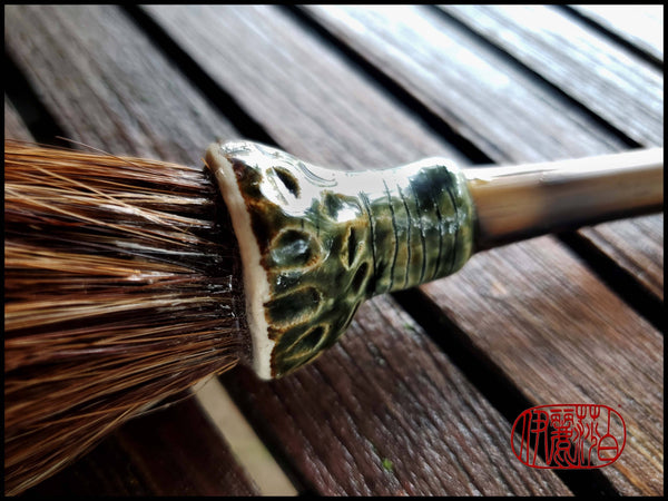 Handmade Sumi-e Style Paint Brush with Ceramic Ferrule - Elizabeth Schowachert Art