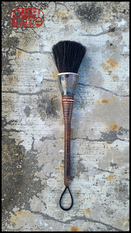 Horsehair Blunt Paint Brush with Antique Wood Bobbin Spool Handle Art Supplies Elizabeth Schowachert Art