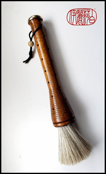 Horsehair Paint Brush with Antique Industrial Wood Spool Handle - Elizabeth Schowachert Art