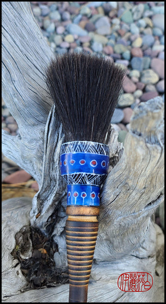 Horsehair Paint Brush with Antique Wood Bobbin Spool Handle Art Supplies Elizabeth Schowachert Art