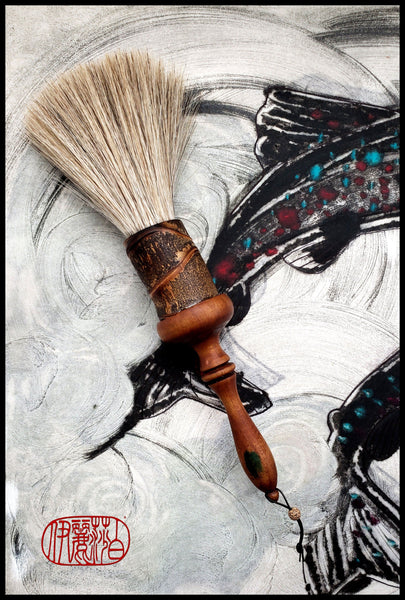Horsehair Sumi-e Brush With A Repurposed Antique Barbershop Neck Brush Handle - Elizabeth Schowachert Art