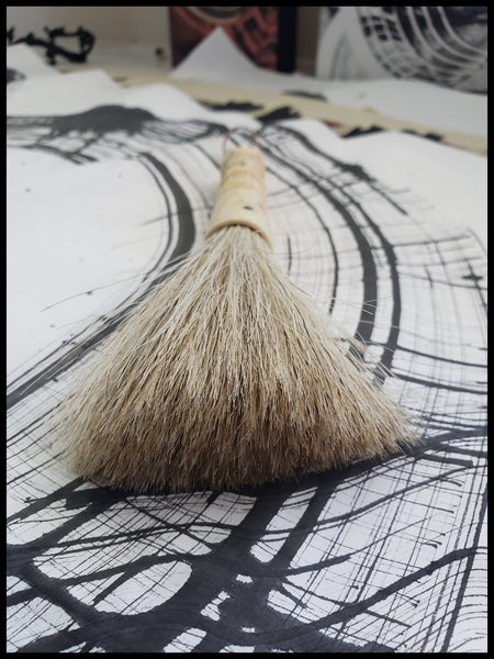 Horsehair Sumi-e Brush With A Repurposed Antique Carved Bone Handle Art Supplies Elizabeth Schowachert Art