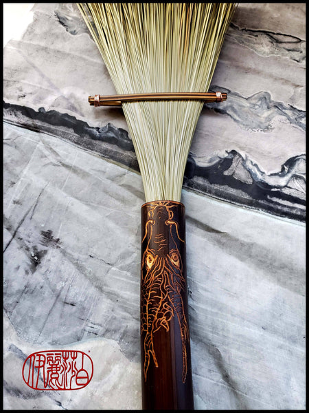 Large African Fiber Fan Paint Brush with Bamboo Handle Art Supplies Elizabeth Schowachert Art