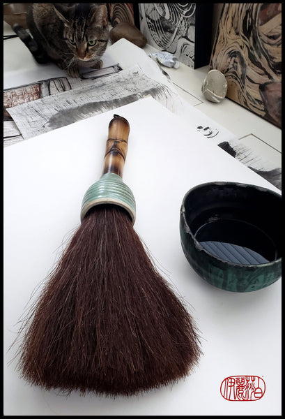 Large Coarse Dark Auburn Horsehair Sumi-e Paint Brush With Stoneware Ferrule Art Supplies Elizabeth Schowachert Art