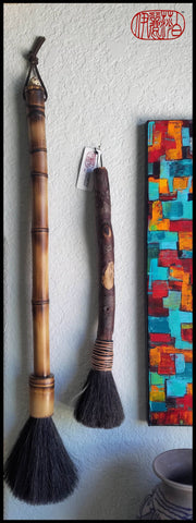 Large Dark Brown 5.5 inch Horse Hair Brush With A 21 inch Long Bamboo Handle and a Bamboo Bezel - Elizabeth Schowachert Art