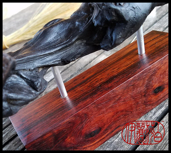 Large Natural Wood Paint Brush Rest on Cocobolo Stand - Elizabeth Schowachert Art