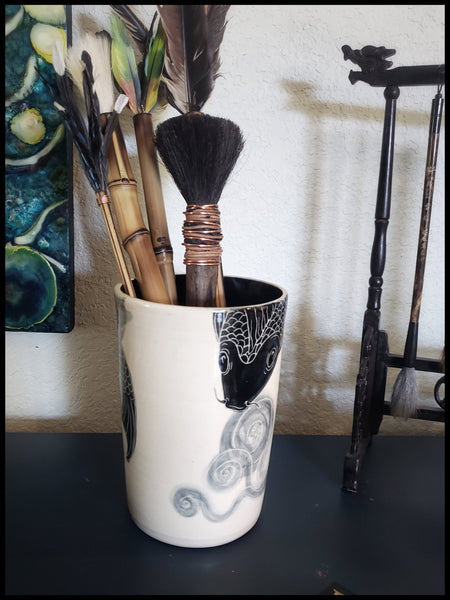 Large Porcelain Brush Holder With Sgraffito Koi Images Art Supplies Elizabeth Schowachert Art