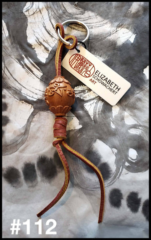Leather Keychains Made With Bamboo and Natural Seeds - Elizabeth Schowachert Art
