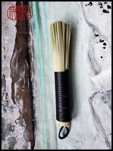 "Leather Wrap ""FLAT"" Cold Wax Fiber Brush Art Supplies Elizabeth Schowachert Art"