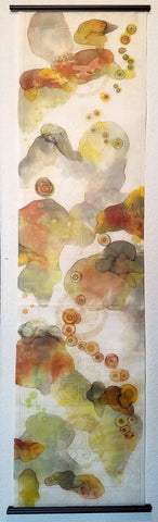 "Mixed Media Scroll Painting ""Soft Awakenings"" 13.75X53 By Elizabeth Schowachert - Elizabeth Schowachert Art"