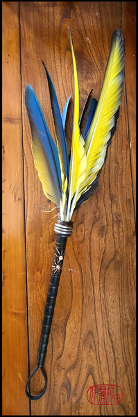 Parrot Feather Paintbrush with Inlaid Quill Bobbin Handle Art Supplies Elizabeth Schowachert Art