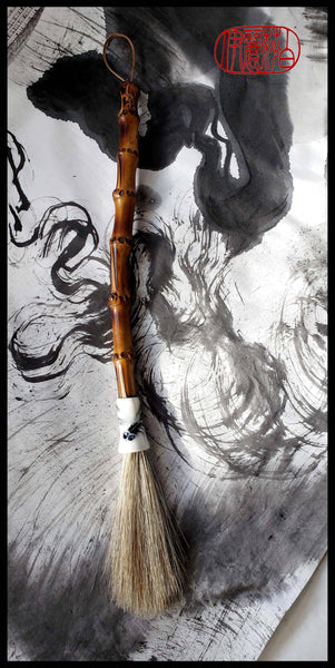 Premium Grey Horsehair Sumi-e Paint Brush With Porcelain Ferrule Art Supplies Elizabeth Schowachert Art
