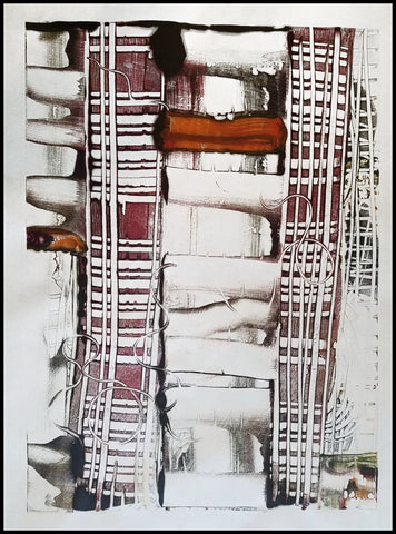 Road to Somewhere - Encaustic Monotype Print - Elizabeth Schowachert Art